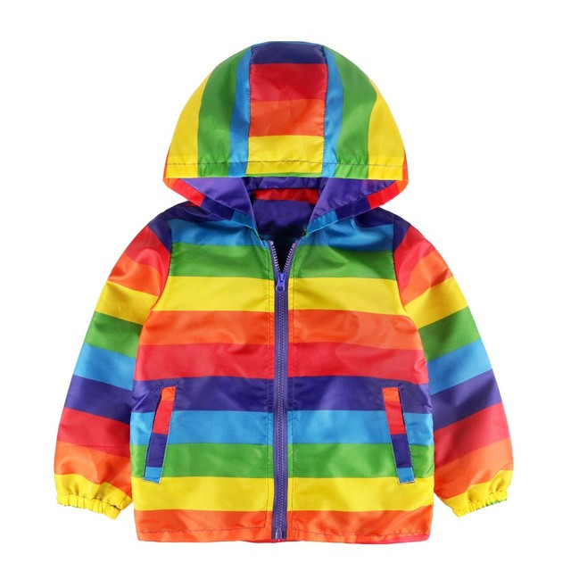 Genuine MUQGEW Children's Clothing Kids Baby Grils Boys Long Sleeve Rainbow Stripe Hooded Coat Tops Outfits Kid Clothes TF
