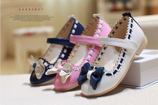 Niñas solos zapatos de los niños del bebé de la princesa del otoño la nueva arco de las muchachas zapatos niño salvaje bastante pequeña zapatos 30-35