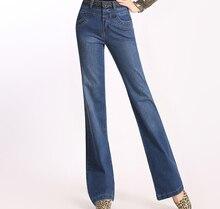 Вышивка джинсы повседневная flare брюки для женщин плюс размер auutmn весна зима полная длина высокая талия брюки kll0516