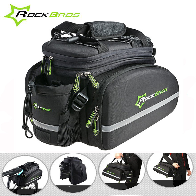 ROCKBROS Cycling Bike Bag Mountain Road Bicycle Frame Rack Bag with Rain Cover Waterproof Multifunctional Pack Commuter Panier rockbros large capacity bicycle camera bag rainproof cycling mtb mountain road bike rear seat travel rack bag bag accessories