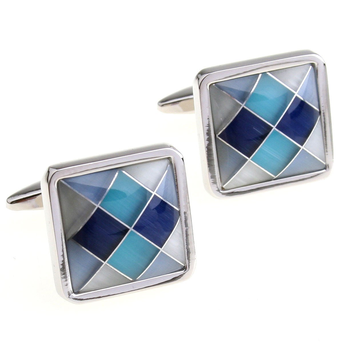 Cufflinks Retail Blue black shell square cufflinks 150817 free shipping+free gift box