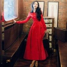2017 Spring Autumn Vintage High Waist Slim Shirt Dress Long Sleeve Polo Neck Button Red Maxi