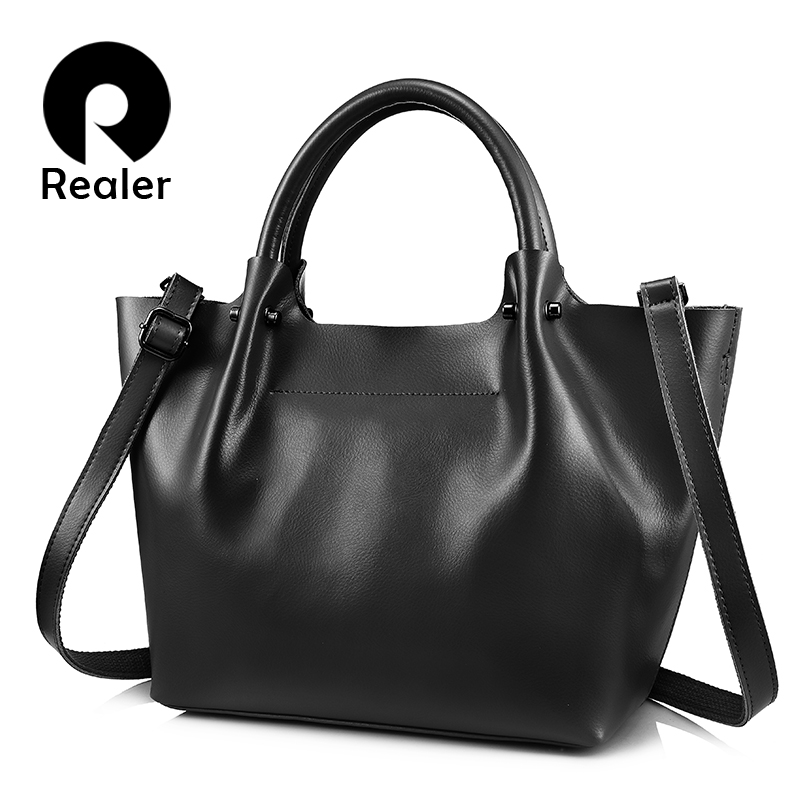 REALER women handbags large totes female high quality split leather top-handle ladies shoulder crossbody messenger evening bags