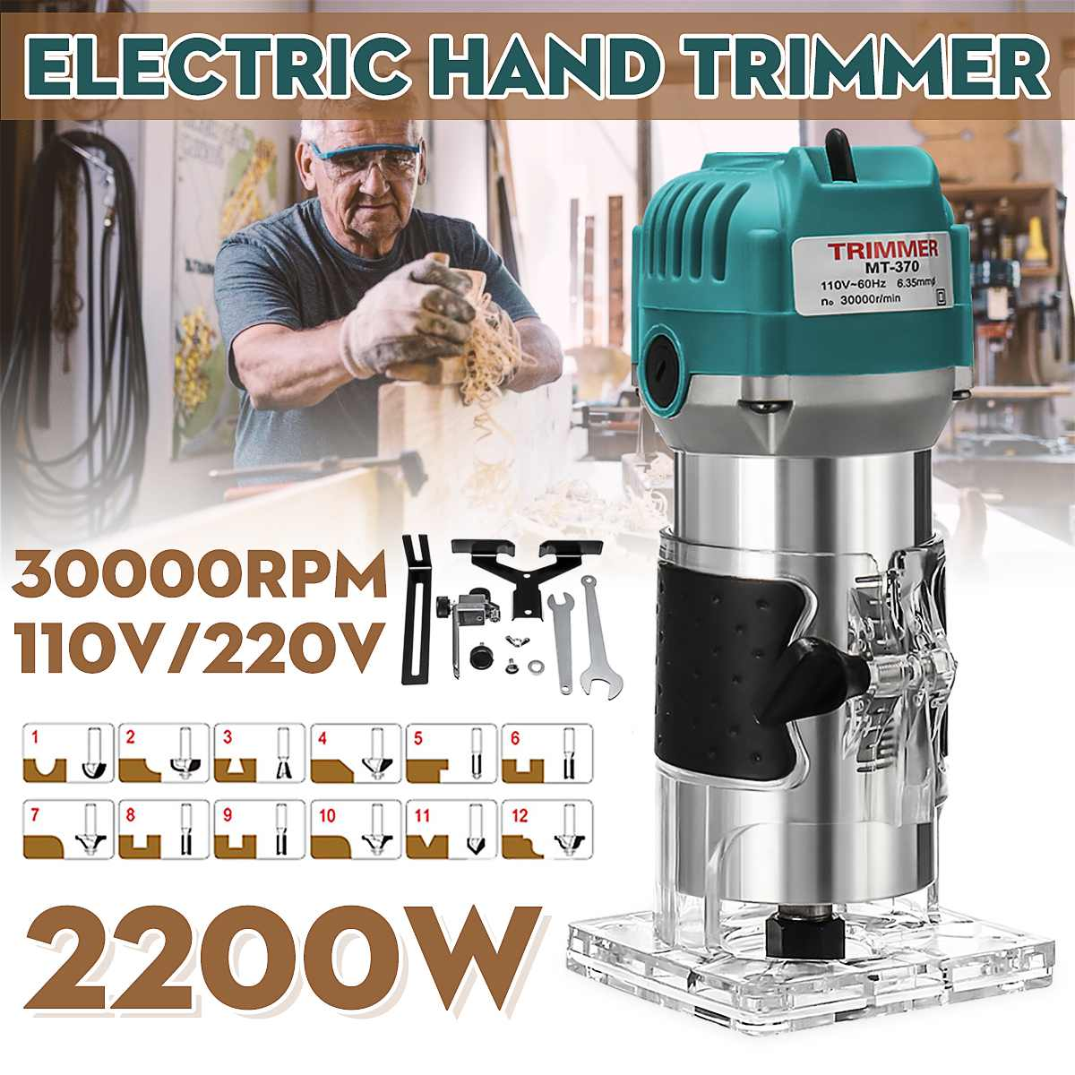 110V/220V 2200W 6.35mm Electric Hand Trimmer Wood Laminate Palms Router Joiners Router for Woodworking Power Tool Kit