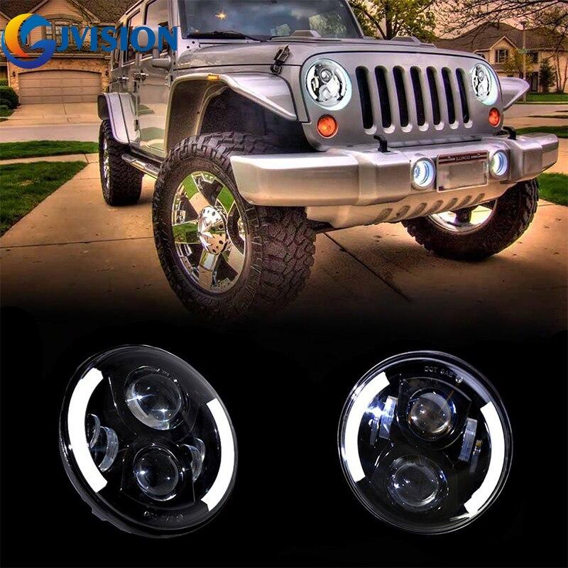 7 круглый 60Вт Н4 Н13 светодиодные фары гало глаза Ангела для Jeep Вранглер JK и TJ FJ Крузер Харлей Дэвидсон