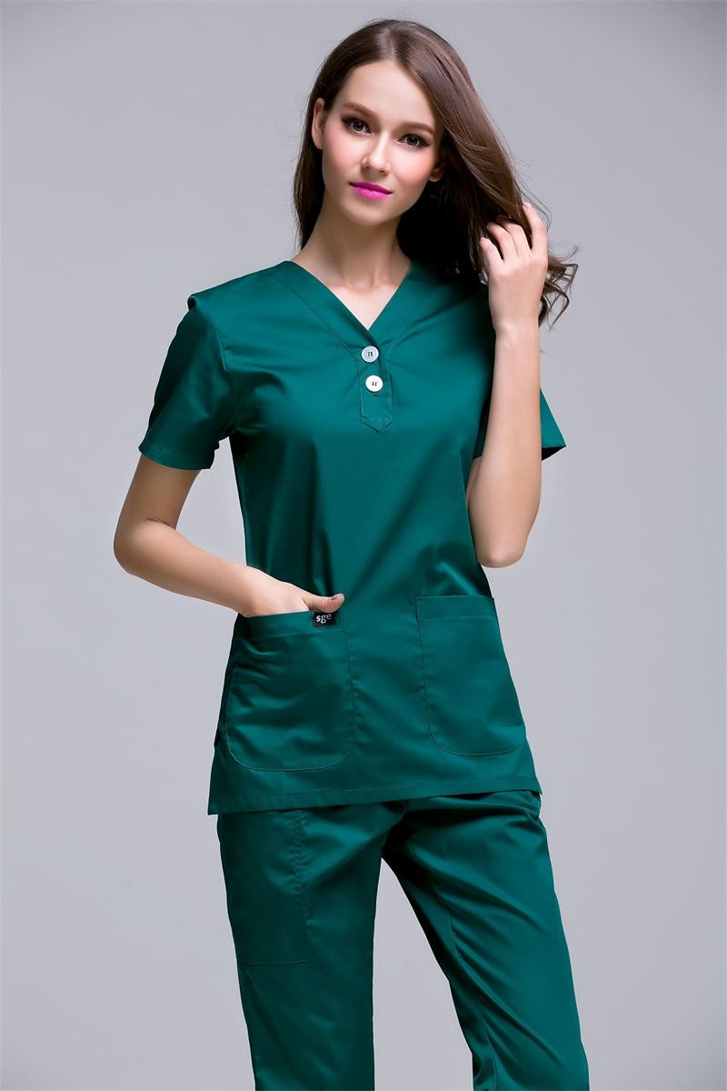 Polyester Cotton Women's Short-sleeved Surgical Clothing Scrub Sets Beauty Salon Workwear Overalls Doctors Nurses Slim Uniforms
