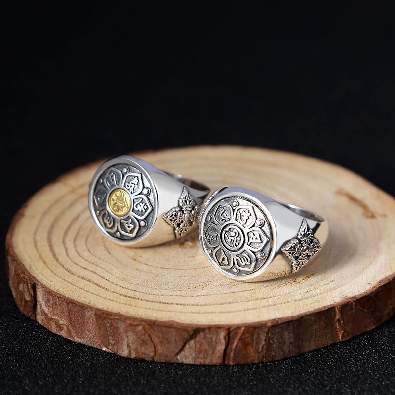 Мода 925 стерлингового серебра Буддизм вращающийся Lucky безопасное кольцо Для мужчин тайский серебряный Fine Jewelry подарок палец кольцо ZY296-2