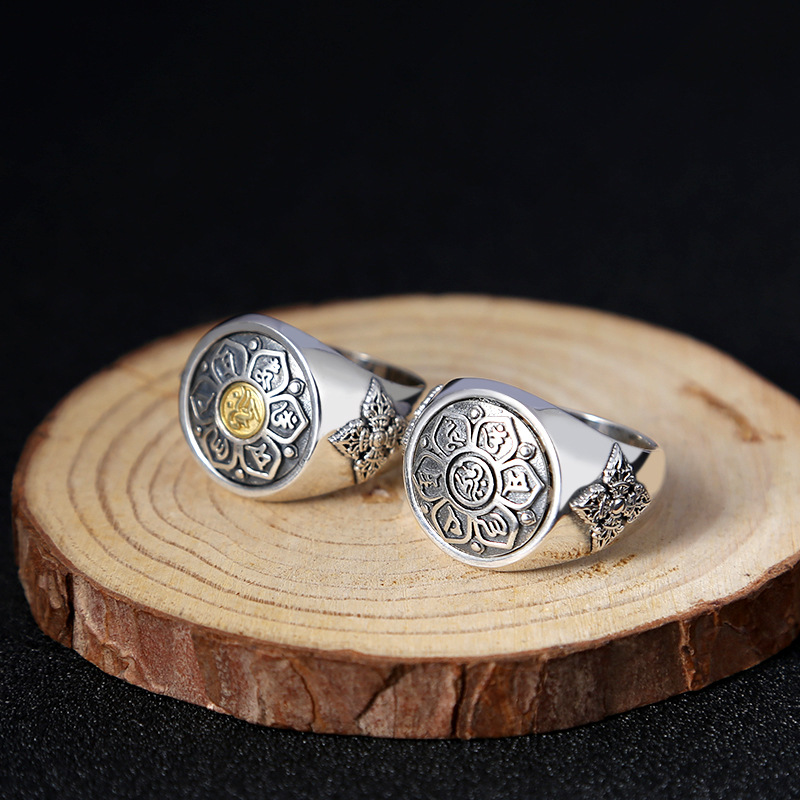Fashion 925 Sterling Silver Buddhism Rotatable Lucky Safe Ring Men Thai Silver Fine Jewelry Gift Finger Ring ZY296-2 yongheng sl 01 men s 2 in 1 type rotatable titanium steel ring silver