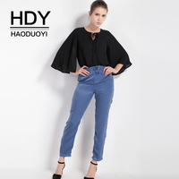 HDY Haoduoyi Brand Women Blue Casual Pants Mid Waist Lace Up Waist Elastic Ruffles Female Loose