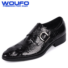 Luxury mens single monk strap shoes wine red buckle strap shoes alligator leather shoes pointed toe mens crocodile skin shoes