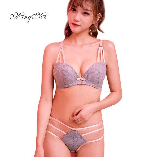 d224109310f MINGMO Sexy Push Up Bra Lace Cotton lingerie set lacely Tape Decoration Bra Set  Women Underwear Set