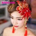 Elegância Chinês Cocar Borla Cristal Strass Flor Rendas cheongsam Vermelho Do Vintage Grampos de cabelo de Noiva Acessórios Para o Cabelo