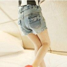 2017 d'été version coréenne laciness denim short adolescentes filles tout-allumette mode casual pantalon court enfants jeans shorts 4-13 ans