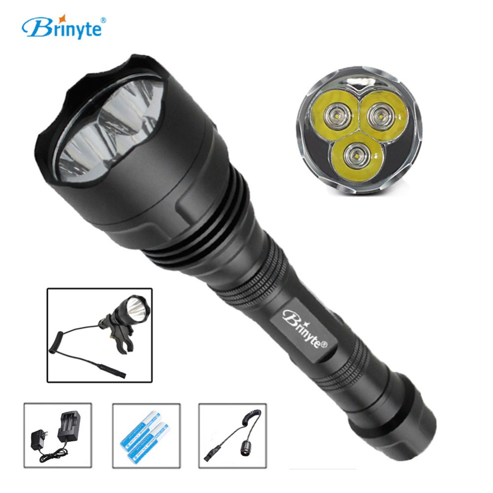 все цены на Brinyte S38 High Power Rechargeable LED Searchlight 1000 lumens 3 XR-E Q5 CREE Mini Tactical LED Torch Remote Control Flashlight