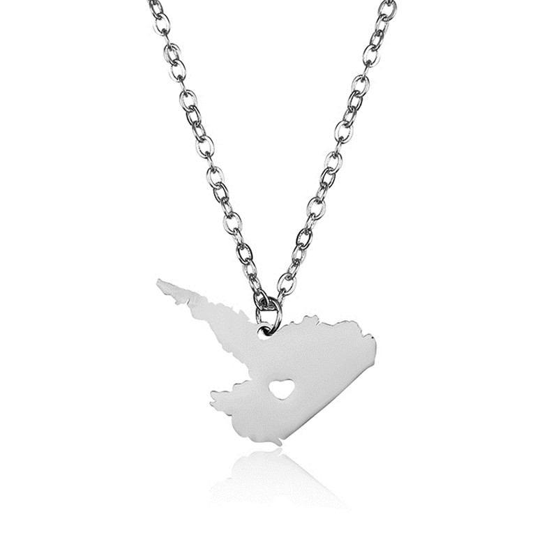 Elfin New 304 Stainless Steel Labrador Map Necklace High Quality Canada Labrador Map Heart Pendant Necklace Women Map Jewellery