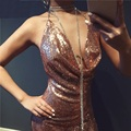 2017 New Year Dress Women Sequined Gold Party Bling Dress Vestido Sexy Backless Bodycon Sliver Deep V Neck Nightclub Mini Dress