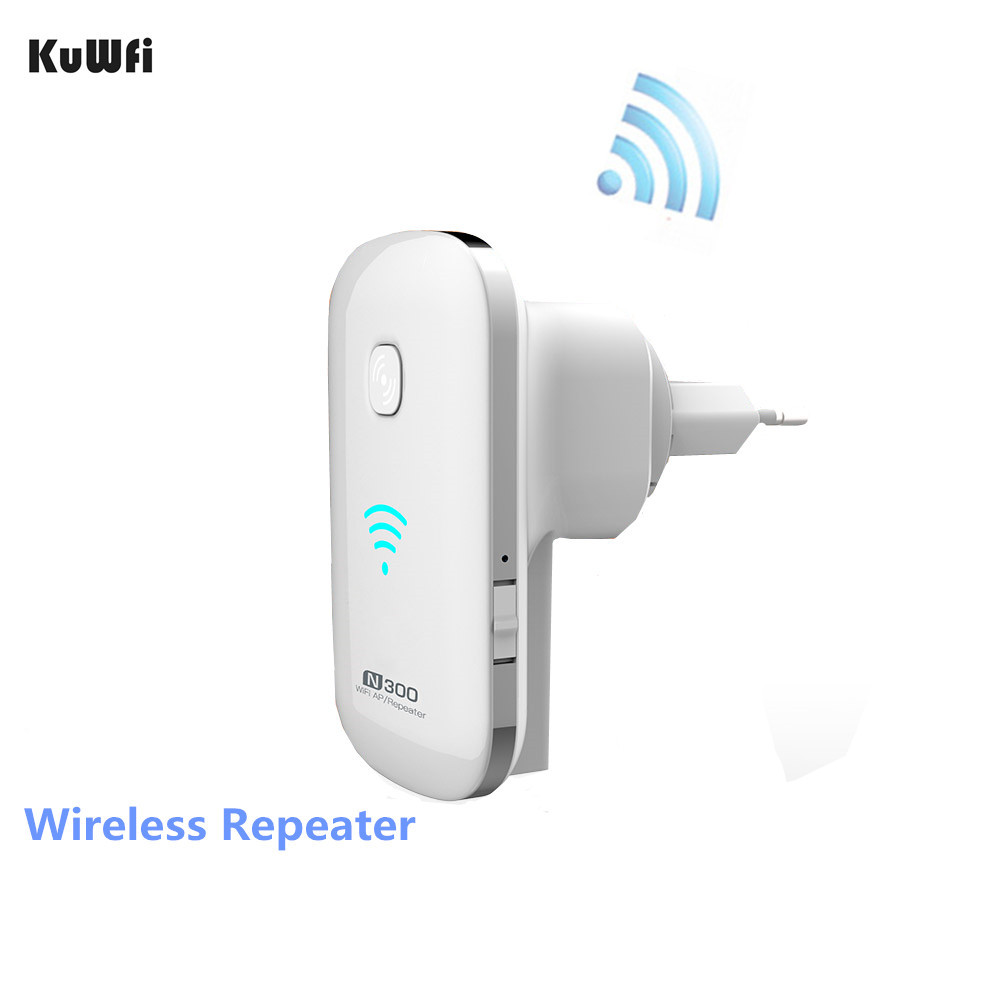 Kuwfi 300Mbps 2 4GHZ Wifi Wireless Repeater Wifi Range Extender Wifi Router Support WPS AP Mode Boost Existing Network Range in Wireless Routers from Computer Office