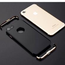 Для iPhone 7 3 в 1 гальваническим покрытием кадра нескользкая подошва матовая поверхность Жесткий телефона Чехлы для iPhone 6 6S 7 плюс ультра тонкий и тонкий