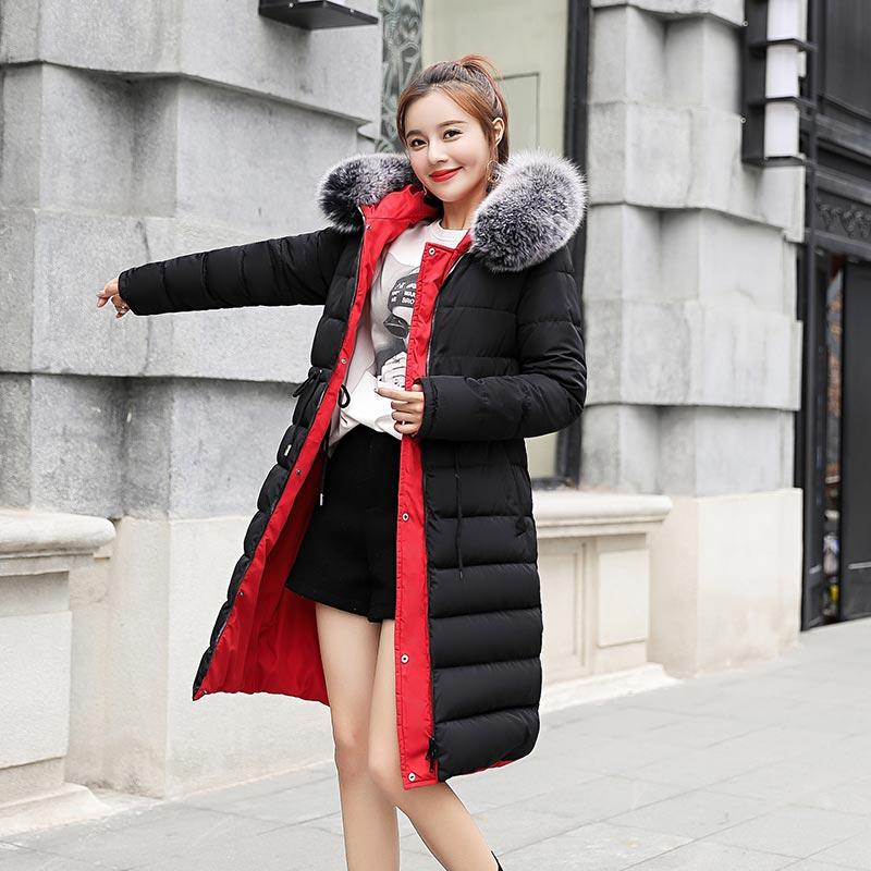 2018 new Winter Jacket Women Long   Parkas   New Warm Two Sides Wear Down Cotton Artificial Fur Collar Women's Coat Jacket