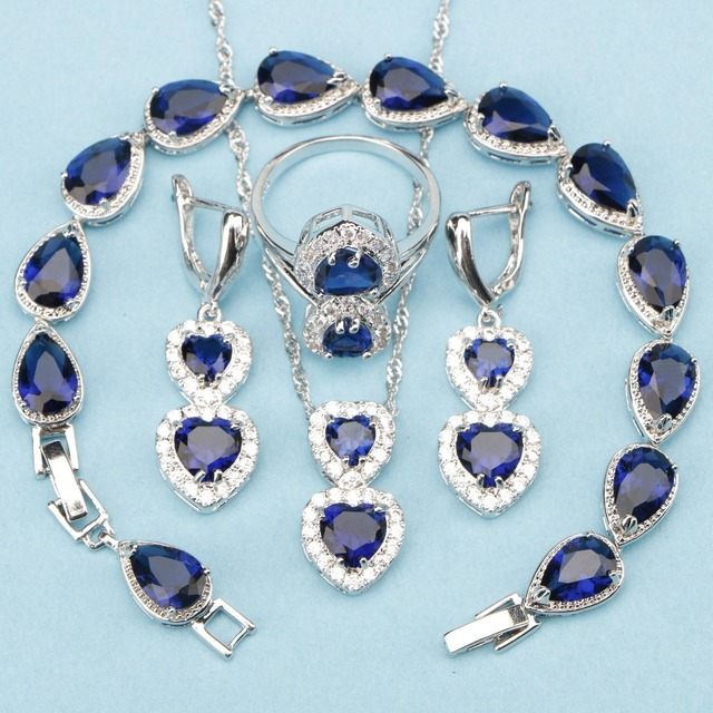 Beautiful Royal Blue Cubic Zirconia 925 Sterling Silver Wedding