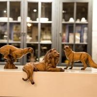 Resin Leopard Figurines Ornament Lion Figurine Luxury Fox Decoration Home Decor Northern Eoupean Artware New Year Gift