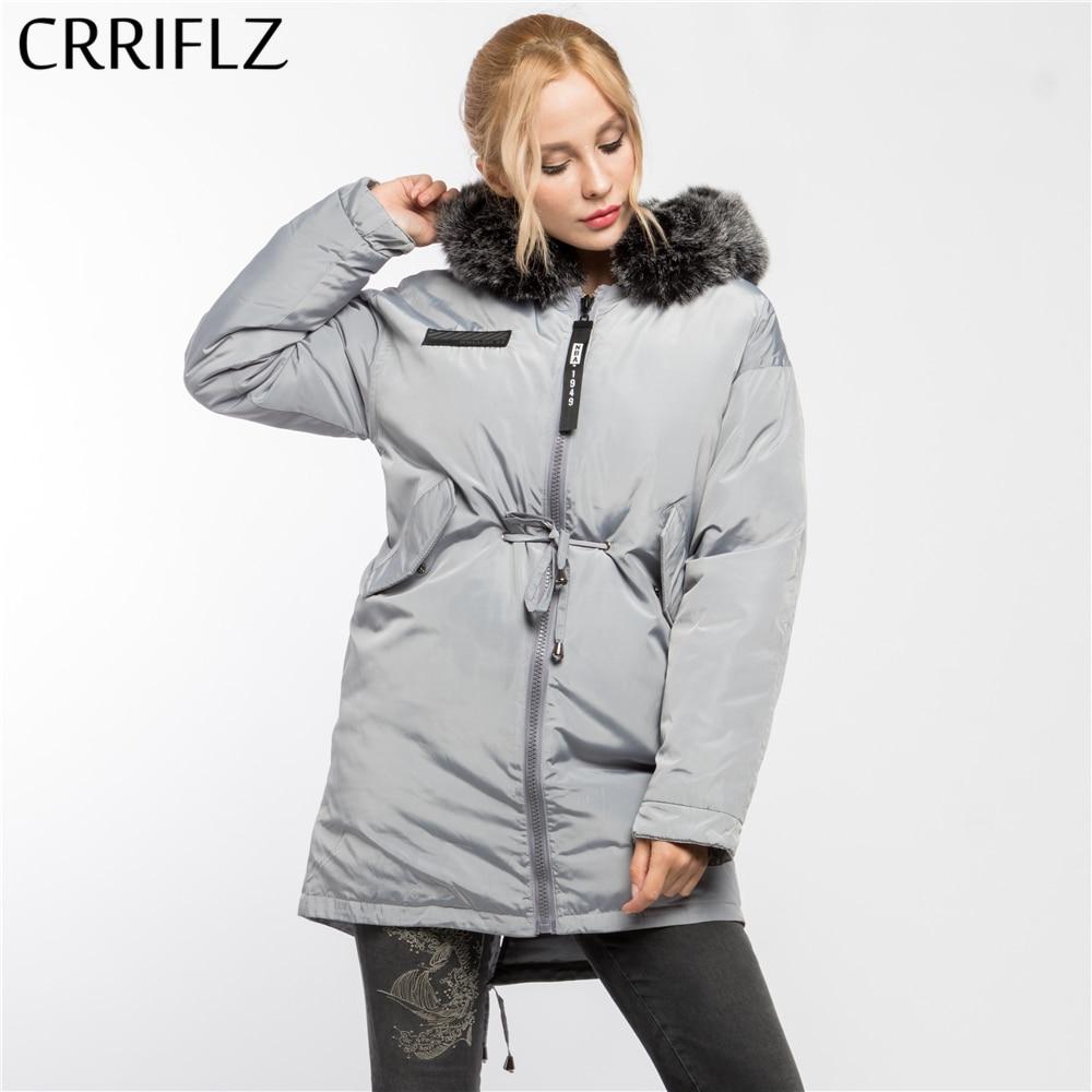 Faux Fur Fashion Warm Winter Jacket Women Hooded Coat Down Parkas Female Outerwear CRRIFLZ 2017 New Winter Collection цены онлайн