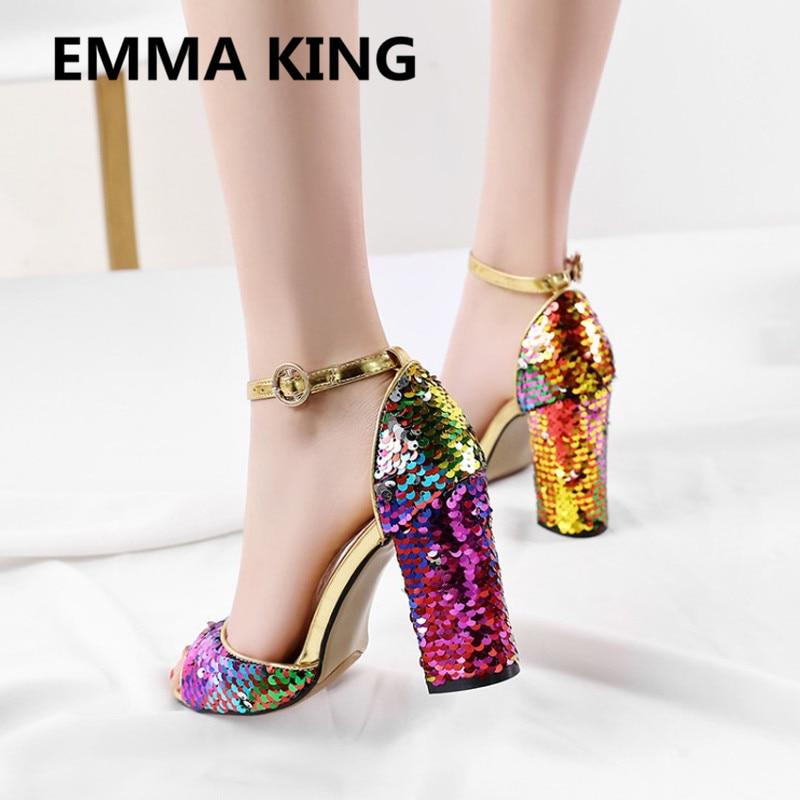 Nova Glitter Bling Bling Sandálias Das Mulheres Do Partido Tira No Tornozelo Do Dedo Do Pé Aberto Grossas de Salto Alto Senhoras Sapatos Da Moda Mulher Sandálias Gladiador - 2