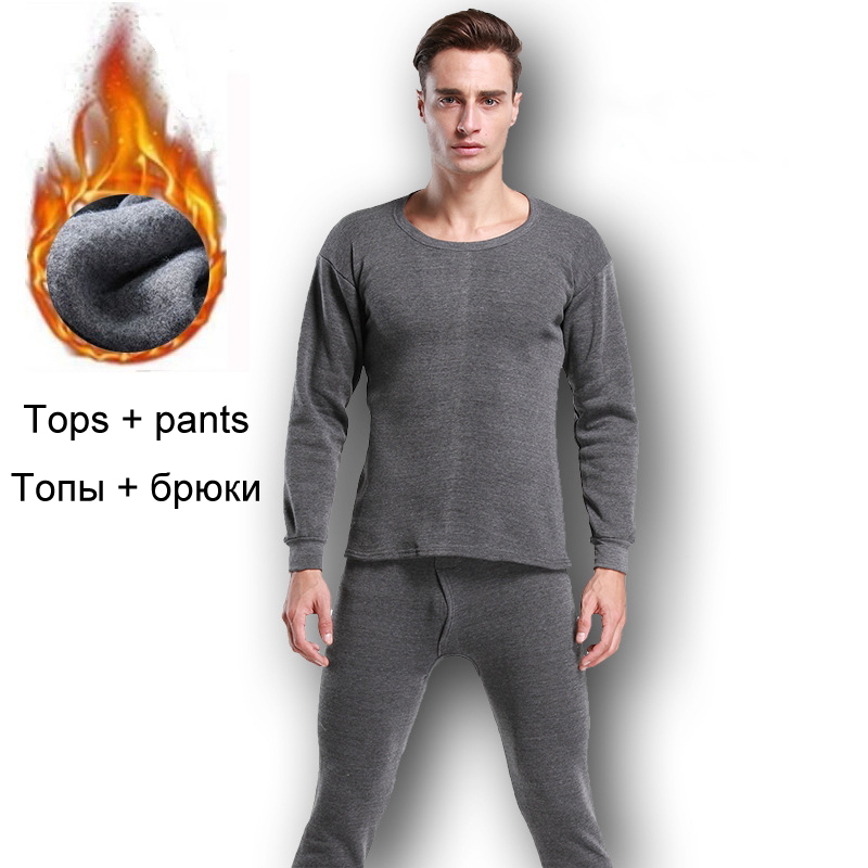 Thermal-Underwear-Sets Thermal Clothing Long-Johns Winter Thick for Men Solid