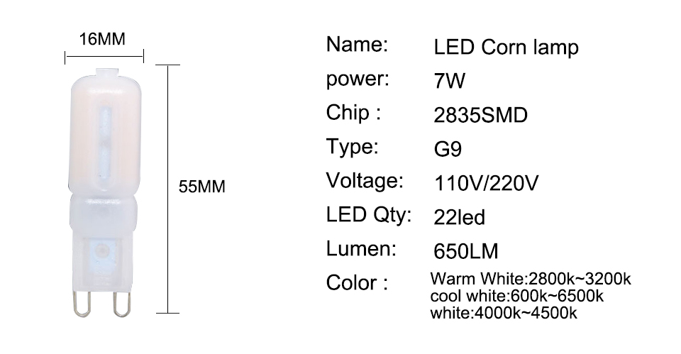 G9 LED Lamp 5W 7W 9W LED Light Bulb AC 220V 110V Chandelier (3)