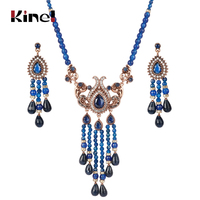 Kinel Blue Natural Stone Necklace And Earrings For Women Antique Gold Crystal Ethnic Vintage Wedding Jewelry Sets