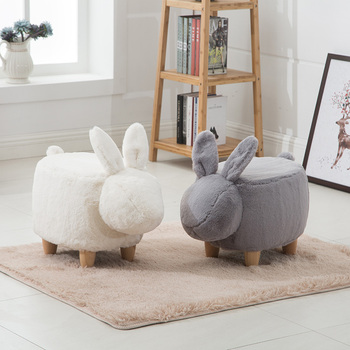 Creative rabbit shoe bench American solid wood footrest shoes stool modern minimalist stool american style dressing stool solid wood leather pedal simple bed end stool continental long shoe bench bedroom makeup stool