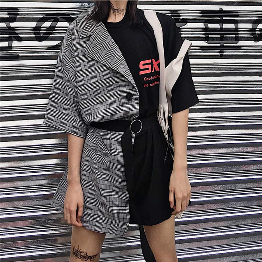 DICLOUD/уличное клетчатое платье с асимметричной строчкой, женское летнее кружевное платье с высокой талией, 2018, повседневные свободные мини-платья, Vestido