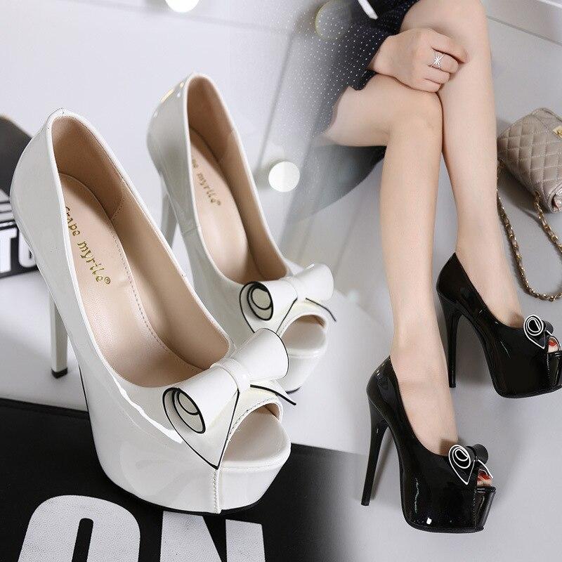 Nl090 2017 Mariage Chaussures Bowtie Black Parti De forme Élégant Talons Chaude Mince white Plate 13 Automne Haute Noir Cm Femmes Pompes Femme ETRRfqH