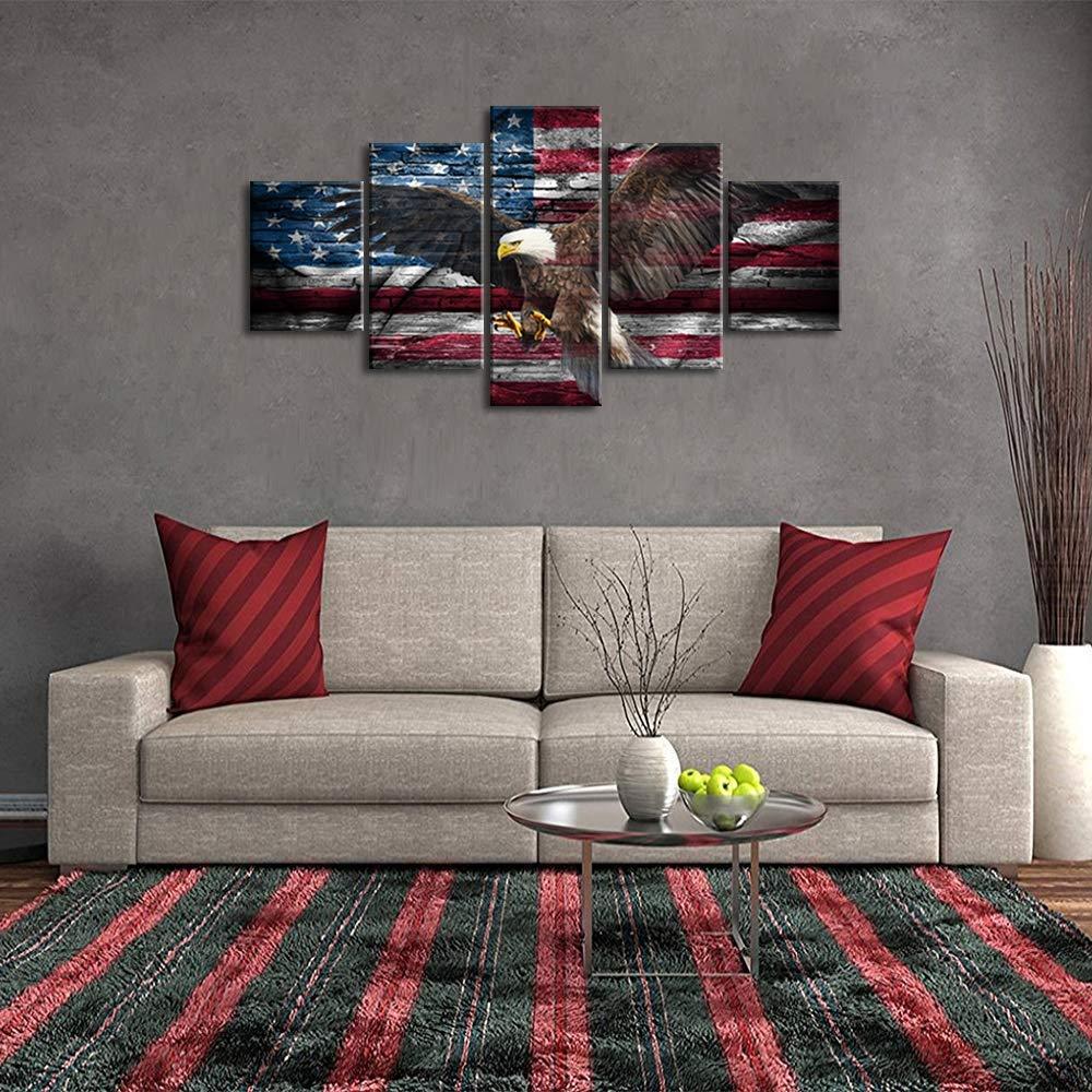 Retro Bald Eagle USA US American Flag Military Canvas