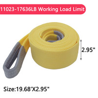 Nylon Recovery Yellow Tow Strap Rope 11023 17636 LB Capacity Emergency Towing Ropes Heavy Duty Towing