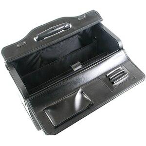 Image 4 - חדש רטרו אמיתי עור טייס מתגלגל מזוודות בקתה חברת תעופה דיילת נסיעות תיק על גלגלים עסקים עגלת מזוודות hangbag