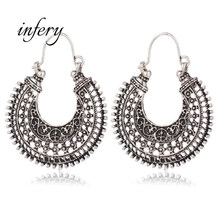 2019 New Fashion Vintage Silver Hollow Boho Earrings Brincos for Women Wholesale Jewelry Bohemian Style 5E529(China)