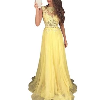 Holievery Lace Chiffon Evening Formal Dress Women Elegant 2019 Long Party Dresses with Appliques Sukienki Wieczorowe Avondjurk