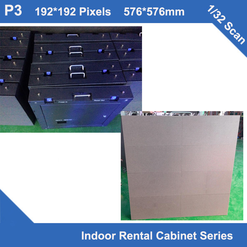 TEEHO 6PCS/LOT P3 Indoor Rental Iron Cabinet Full Color Led Display 576mm*576mm 192*192dots 1/32 Scan Iron Led Module Display