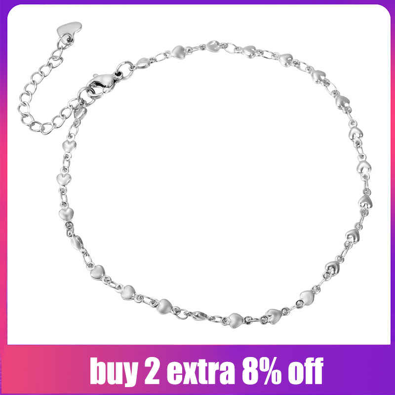 FUNIQUE Women Stainless Steel Chain Bracelets Anklets Silver Tone Heart Round Ladies Bracelet Party Couple Jewelry Gifts 24cm