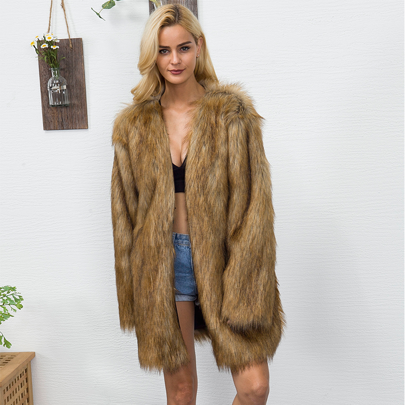 New Women Fur Coat Jacket Winter Thicken Warm Furry Shaggy Outerwear Long V neck Collarless Hairy Parkas Oversize 2C0134 in Faux Fur from Women 39 s Clothing