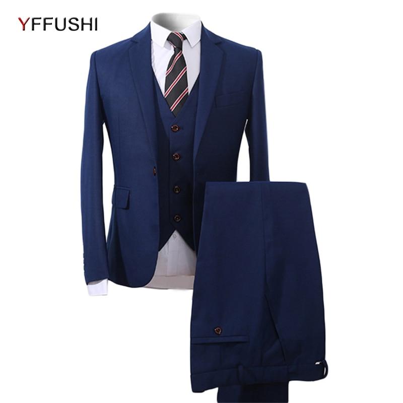 Slim D'affaires Robe Costumes Hommes Fit Terno Costume Masculino Smokings Laine Printemps Bleu Partie 3 Pièces Automne 2018 Yffushi qtFxZvx