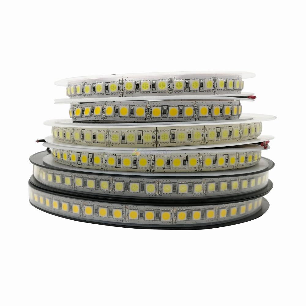 Tira led 5050 120leds/m, fileira led branca/branca/rgb dc12v 5m 600led ip20 luz de led flexível à prova d' água ip65 ip67