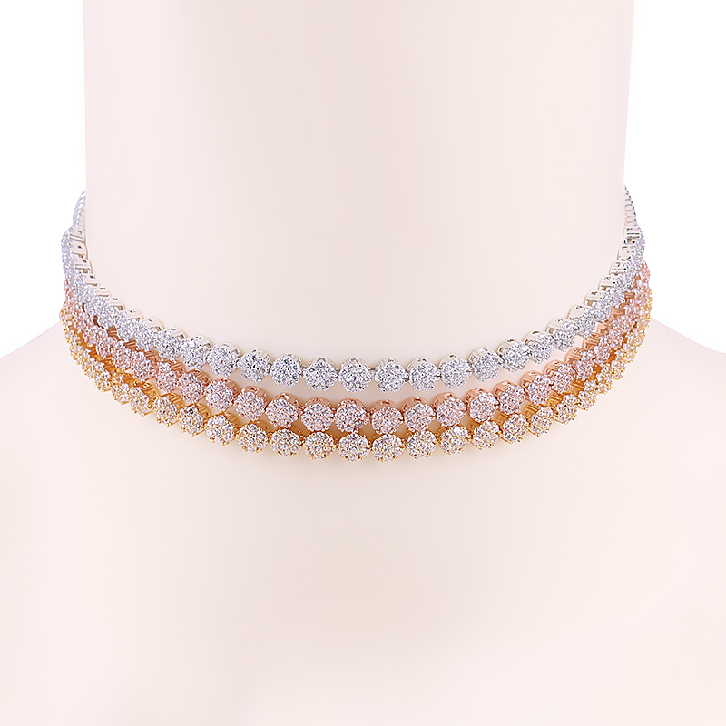 WEIMANJINGDIAN New Arrival Small Round Cake Shape Sparkling Cubic Zirconia CZ Chokers Coll