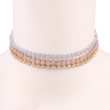 WEIMANJINGDIAN New Arrival Small Round Cake Shape Sparkling Cubic Zirconia CZ Chokers Collar Necklaces for Women