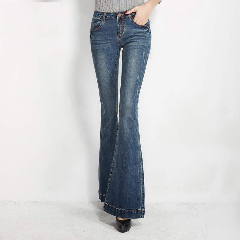 Unique Design Women s Spring and Autumn Fashion Slim Boot Cut Jeans Female Fashion Flare Pants