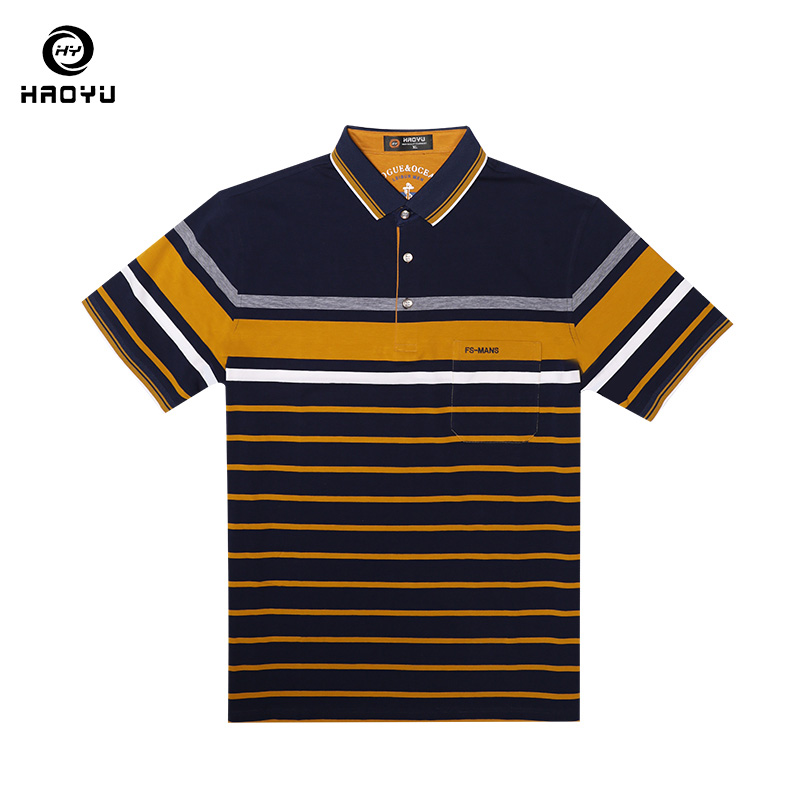 Men Polo Shirts Short Sleeves Brand Clothing Striped Polos Cotton Business Casual Fashion Polo Shirt Breathable Fabric Haoyu