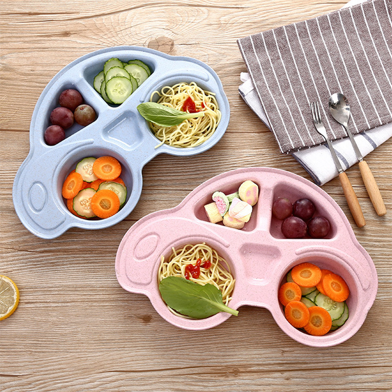 Baby Bowls Plate Tableware Infant Bamboo Feeding Bowl Cute Cartoon Car Kids Food Placemat Dishes Children Eating Training Plate
