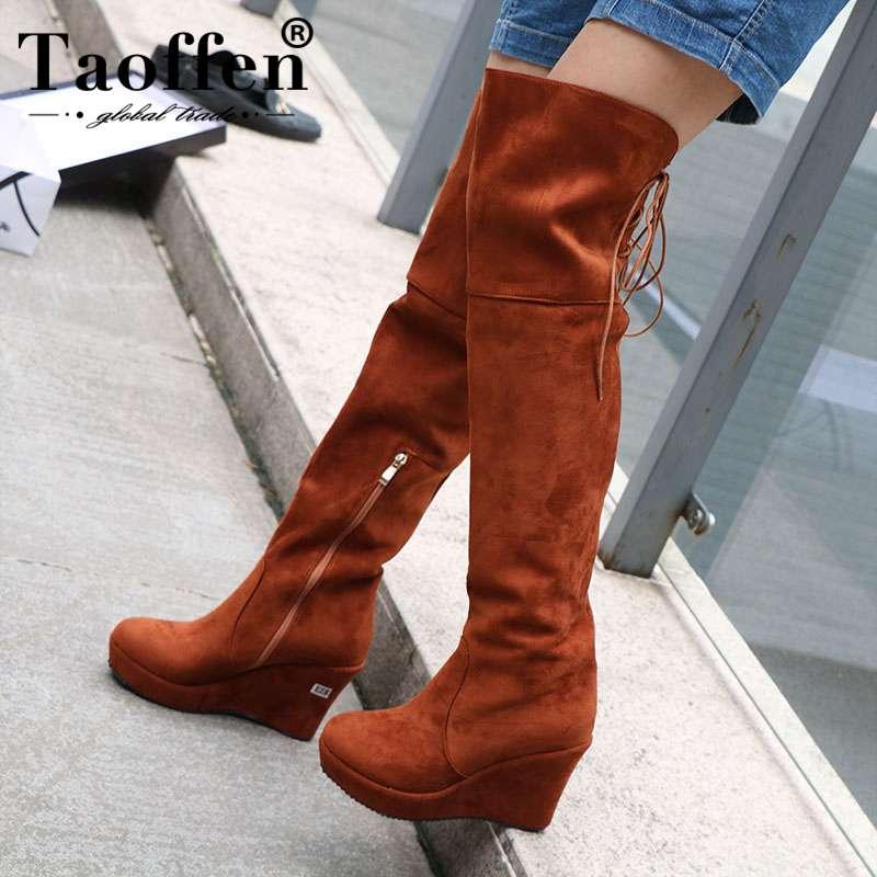 Taoffen/женские Сапоги выше колена с Плюшевым Мехом на высоком каблуке, зимняя женская обувь на платформе, высокие теплые сапоги на молнии, обув...
