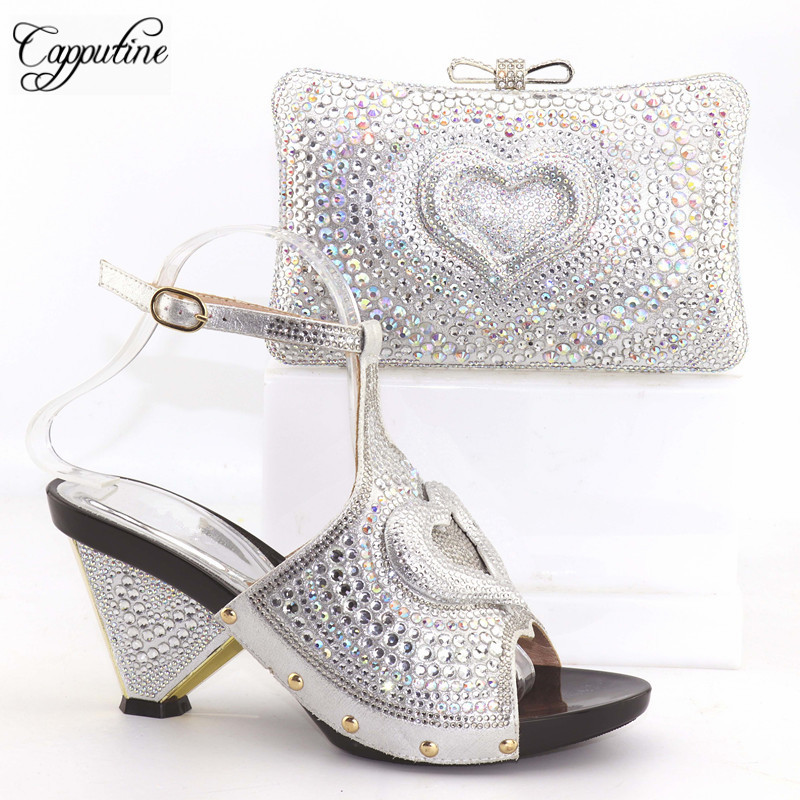 Capputine Nigeria Summer Woman font b Shoes b font And Bag Set Italian Style Middle Heels